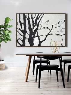 CZ Art Design - Hand painted oversized Horizontal Minimalist Abstract Tree Art, black and white tree painting canvas art. Perfect for contemporary homes and neutral interiors. #MN7C