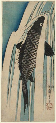 Utagawa Hiroshige Title:Carp Ascending a Waterfall Date:1847-52