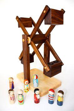 Toy Ferris Wheel Wooden Natural Handmade by asummerafternoon