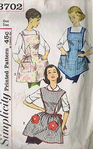 Vintage Bib Cobbler Apron Sewing Pattern Simplicity 3702 One Size Fits All Cut | eBay