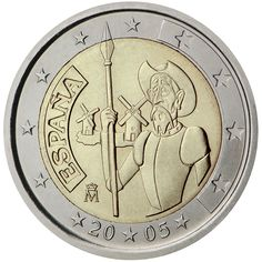 2 euro coin centenary of the first edition of Miguel de Cervantes' The ingenious gentleman Don Quixote of La Mancha Timbre Collection, Piece Euro, Euro Coins, Famous Novels, Great Novels, Gold Money, Commemorative Coins, World Coins, Detailed Image