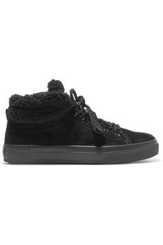 Tod's - Shearling-trimmed Suede Sneakers - Black