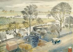 The River Thames at Hammersmith by Eric Ravilious (1932c)
