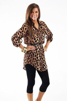 Safari Tunic $44.00 You cannot go wrong with an animal print this season! This one even comes with a belt. We love that the length is perfect for leggings and the gold buttons add nice detail:)   Fits true to size. Miranda is wearing the small