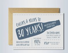 30th birthday invitation | cheers and beers | cheers to 30 years | beer party | digital invitation template by KneadyBatchDesigns on Etsy https://www.etsy.com/listing/513011902/30th-birthday-invitation-cheers-and