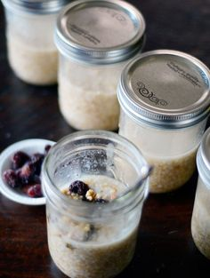 Grab and Go steel-cut oatmeal in a jar: basically, you partially cook a week's worth, divide it into several jars which you cap and leave out on the counter.  The rest of the cooking happens passively overnight.  In the morning, take one and microwave it (lidless) and add milk, sugar, raisins, whatever you like, and eat it.  Put the others in the fridge for later in the week.