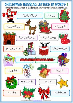 Christmas Missing Letters In Words ESL Exercise Handouts