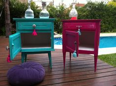 These would be great in shared girls room. Funky Furniture, Refurbished Furniture, Paint Furniture, Upcycled Furniture, Furniture Projects, Furniture Makeover, Diy Projects, Deco Boheme, Furniture Restoration