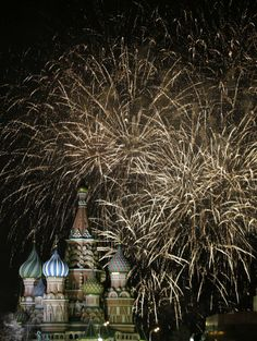 Fireworks explode in the sky during New Year celebrations in Moscow's Red Square