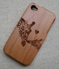 Customized, personalized,Natural wood case, iphone case, graphic engraved case for iphone 4/4s,5/5s/5c, Samsung s3/s4, Couple giraffes