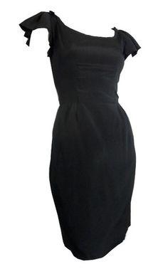 Black Silk Flutter Sleeve Cocktail Dress circa 1960s Harou - Dorothea's Closet Vintage