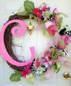 """Spring Wreath with Letter Initial Monogram Flowers EXAMPLE 24"""" wreath ..."""