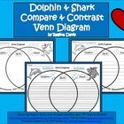 This is a blank Venn Diagram that compares a dolphin to a shark. This would be good to use when teaching about ocean or sea animals. Blank Venn Diagram, Ocean Zones, Stellaluna, Crab And Lobster, Ocean Unit, Compare And Contrast, Ocean Themes, First Grade, Under The Sea