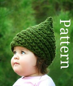 Munchkin hat pattern Gnome hat pattern  Pixie pattern Elf hat pattern Baby knitting pattern Makes sizes 0-3/3-6/12-24/24-48. $5.50, via Etsy.