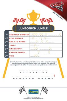 The Jumbotron is a mess! Download this exclusive activity page and unscramble the screen to see the racer rankings.