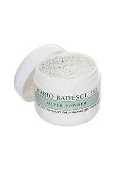 If your T-Zone looks shiny, pull this baby out. The easiest way to use it is to dip a dampened cotton ball or pad into the jar and then dab the powder on the blemish. Let the treatment sit for 15 minutes; then, wipe off with a toner. Mario Badescu Silver Powder, $12, available at Nordstrom. #refinery29 http://www.refinery29.com/powder-face-masks#slide-2