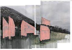 Beniamino Servino. Anonymous hilly landscape. [Cm 32 x cm 48. Colore a tempera, penna al gel d'inchiostro, nastri adesivi, caffè su carta stampata].