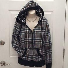 Self Esteem Zip Up Hoodie Juniors Plaid zip up jacket with hood. 60%cotton 40%polyester Excellent condition! Size XL Self Esteem Jackets & Coats