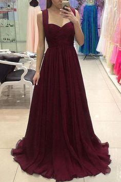 Burgundy Off the Shoulder A Line Long Elegant Prom Dresses Evening Gowns LD245
