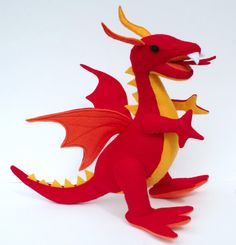 Fantastical Stuffed Fire Dragon  Red Yellow by TheRoamingPeddlers, $35.00 #holidaygiftguide #gameofthrones
