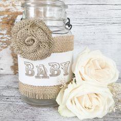 Vintage Baby Shower Decor for 10 Jars, DIY Shabby Chic Baby Shower Centerpiece, Baby Burlap Mason Jar Centerpiece,  Dena Danielle Designs