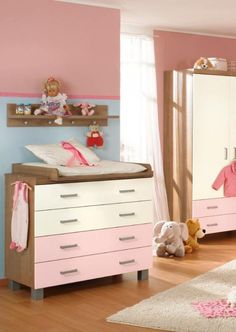 Lovely Pink Brown Chest Of Drawer In Baby Nursery With Dolls
