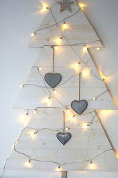DIY White Christmas Tree with Lights