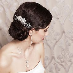 Laura Jayne bridal & hair accessories & tiaras. Myra delicate crystal & pearl hair comb that can be worn as a tiara or backpiece