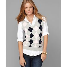 Tommy Hilfiger Vest, Sleeveless V-Neck Argyle Sweater