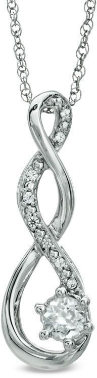 Zales 5.5mm Lab-Created White Sapphire and Diamond Accent Twist Pendant in Sterling Silver