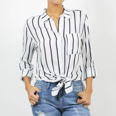 Vertical Stripe Boyfriend Button Down Top Vertical Stripes, Thrifting, Button Downs, Boyfriend, Blouse, Model, How To Wear, Tops, Products