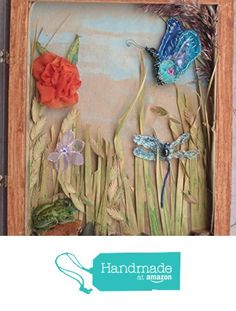 """SALE Wetland Diorama Shadowbox of Handmade Flower Brooch, Dragon Fly Pin, Butterfly Brooch & Frog Brooch 11 3/4"""" inches X 10 X 1 1/2"""" from EMENOW https://www.amazon.com/dp/B01MA2WFO9/ref=hnd_sw_r_pi_dp_1GK.xbB762W0K #handmadeatamazon"""