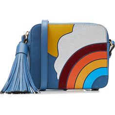 Anya Hindmarch Rainbow Leather Crossbody Shoulder Bag (42,505 INR) ❤ liked on Polyvore featuring bags, handbags, shoulder bags, blue, leather purses, leather cross body purse, blue shoulder bag, blue leather purse and cross-body handbag