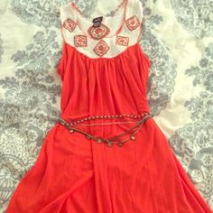 Long orange shirt/ short dress Could be worn as a skirt, over leggings, or over pants. So many options, such great detail! Rue 21 Tops