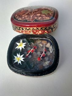 polymer clay koi carp miniature pond with resin by Ooakminiworld