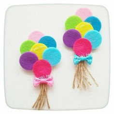 ♥ Tiryaki Hobby ♥: Felt baby candy / birthday magnet – bundle of balloons —— felt balloons - Decoration For Home Kids Crafts, Felt Crafts, Diy And Crafts, Arts And Crafts, Felt Flowers, Fabric Flowers, Sewing Crafts, Sewing Projects, Felt Projects