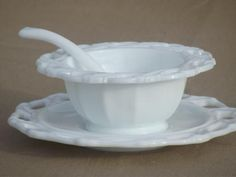 rare vintage Imperial Star Holly leaf milk glass mayo bowl or sauce dish