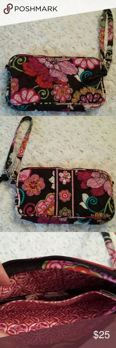 Vera Bradley Quilted Multicolored Wristlet SUPER CUTE Vera Bradley quilted brown and pink colored wristlet  Good condition Vera Bradley Bags Clutches & Wristlets