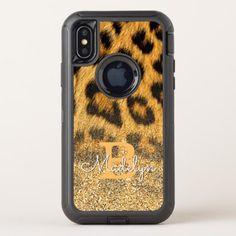 Custom Chic Faux Gold Glitter Leopard Skin Pattern OtterBox Defender iPhone X Case - chic design idea diy elegant beautiful stylish modern exclusive trendy