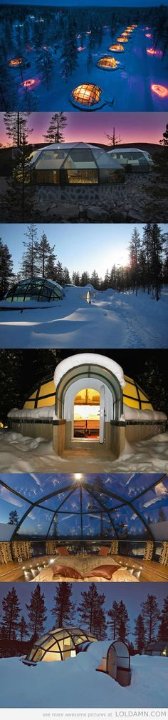 Watching The Northern Lights From a Glass Igloo In Finland Hotel & Igloo Village Kakslauttanen