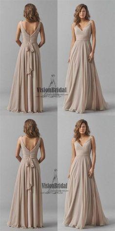 Regular Straps V-Neck Pleating Zipper Up A-Line Long Chiffon Bridesmaid Dress, Bridesmaid Dresses, VB0456 #bridesmaids #bridesmaiddresses