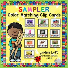 FREEBIE! Color Matching Clip Cards SAMPLER is an engaging activity that can be used in a small group to teach color recognition, or at a center for children to complete independently as a busy bag or quiet time activity. Children place a clothespin on the paint can that matches the color of the photo at the top of the card.  16 cards are included.  Visit my store to see more!