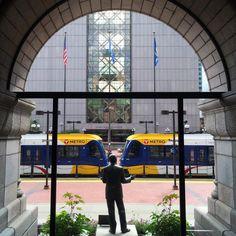 Hubert H. Humphrey statue overlooking the Light Rail at the Minneapolis City Hall.  Photo: Courtesy of Rita Farmer Photography