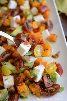 Butternut Caprese Salad with Hot Bacon Dressing