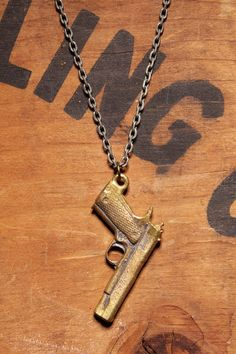 Mens Jewelry Brass 45 Gun made of Old Bullets by weareallsmith, $29.00