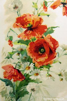 Vintage Home - Victorian Chromo of Poppies and Daisies: www.vintage-home.co.uk