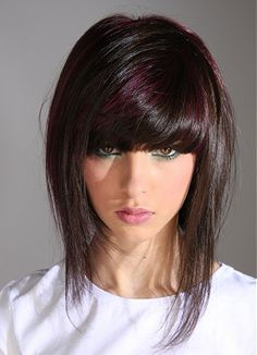 A long black straight hairstyle by Lee Stafford