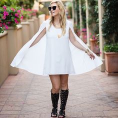 Nikki of @mystylediaries in the perfect LWD for her girls night out in Laguna Beach || Get the cape dress:  http://www.nastygal.com/clothes-dresses/nasty-gal-catherine-cape-dress--ivory?utm_source=pinterest&utm_medium=smm&utm_term=ngdib&utm_content=nasty_gals_do_it_better&utm_campaign=pinterest_nastygal  || #NastyGalsDoItBetter >  https://instagram.com/p/0T3ol0g9yc/