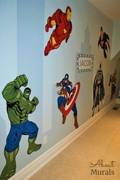 This Superhero Room includes a painted mural personalized with Jacob's name and fave Marvel heroes I painted this kids mural in Jacob's superhero room and personalized it with his name. The Marvel Boys Superhero Bedroom, Marvel Bedroom, Batman Bedroom, Boys Bedroom Paint, Boys Bedroom Decor, Boys Room Paint Ideas, Little Boy Bedroom Ideas, Avengers Room, Murals For Kids