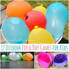 17 Outdoor Field Day Games for Kids that include a water balloon toss, goal kick, water relay, balloon pop and list of more outside games Field Day Activities, Field Day Games, Summer Activities, Summer Games, Outdoor Activities, Youth Activities, Activity Games, Fun Games, Party Games